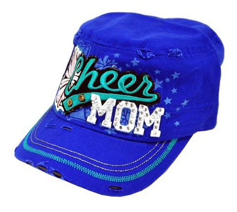 Bling Rhinestone Cheer MOM Military Stud Cadet Cap Hat Distressed Blue - Ace Trading Co.