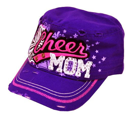 Bling Rhinestone Cheer MOM Military Stud Cadet Cap Hat Distressed Purple - Ace Trading Co.