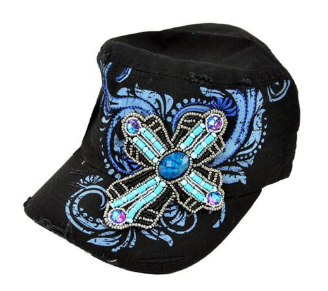 Distressed Handmade Bead Cross Baseball Cap Castro Cadet Hat Black - Ace Trading Co.