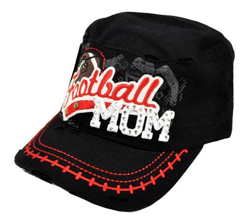 Bling Rhinestone Football MOM Military Stud Cadet Cap Hat Distressed Black - Ace Trading Co.
