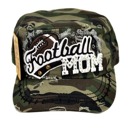 Rhinestone Football MOM Military Cadet Cap Distressed Camo - Ace Handbag