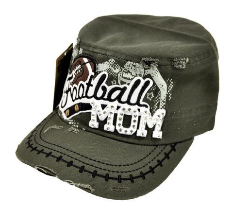 Bling Rhinestone Football MOM Military Stud Cadet Cap Hat Distressed Olive - Ace Trading Co.