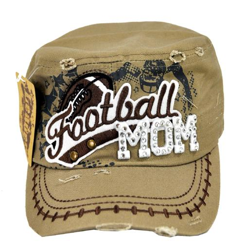 Rhinestone Football MOM Military Cadet Cap Distressed Tan - Ace Handbag