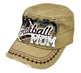 Bling Rhinestone Football MOM Military Stud Cadet Cap Hat Distressed Tan - Ace Trading Co.