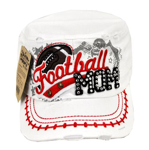 Rhinestone Football MOM Military Cadet Cap Distressed White - Ace Handbag