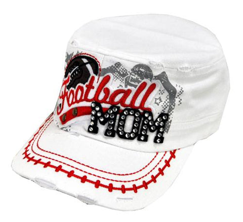 Bling Rhinestone Football MOM Military Stud Cadet Cap Hat Distressed White - Ace Trading Co.