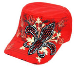 Fleur De Lis Crystal Saint Baseball Cap Castro Cadet Hat Red - Ace Trading Co.