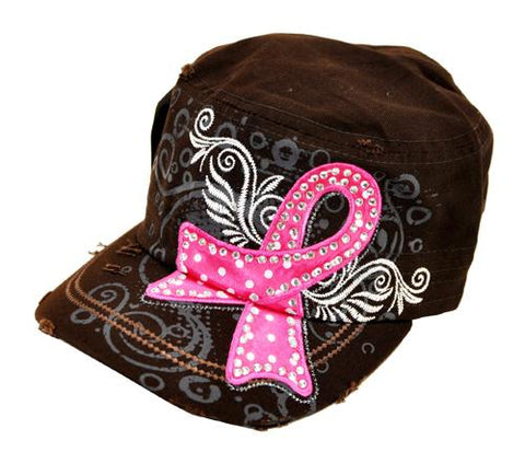 Breast Cancer Awareness Military Cadet Cap Hat Brown - Ace Trading Co.