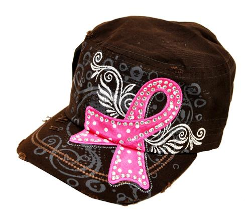 Breast Cancer Awareness Military Cadet Cap Hat Brown - Ace Handbag