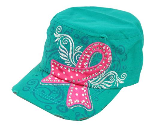Breast Cancer Awareness Military Cadet Cap Hat Turquoise - Ace Handbag