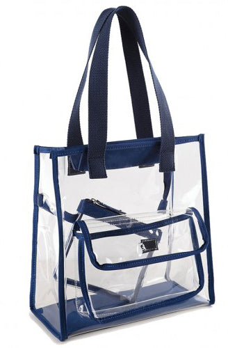 Premium Clear See Through All Purpose Shoulder Tote Navy - Ace Handbag