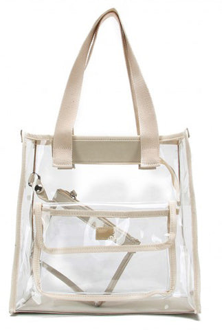 Premium Clear See Through All Purpose Shoulder Tote White