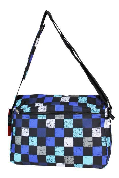 East West 600D Polyester School Messenger Bag Blue Plaid - Ace Handbag