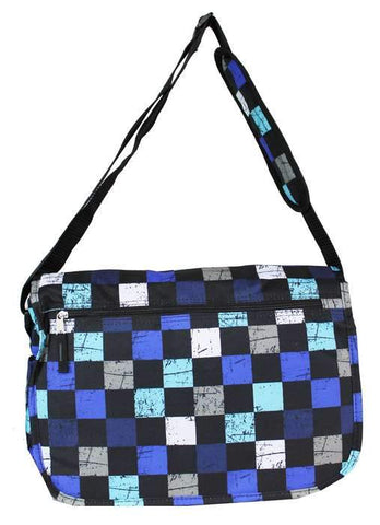 East West 600D Polyester Kids School Messenger Book Bag Blue Plaid - Ace Trading Co.