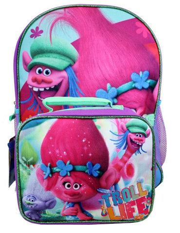 "Trolls Backpack With Detachable Lunch Bag 16"" Large - Ace Trading Co."
