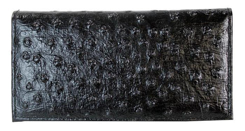 Genuine Leather Bifold Long Wallet Ostrich Skin Card Holder Black - Ace Trading Co.
