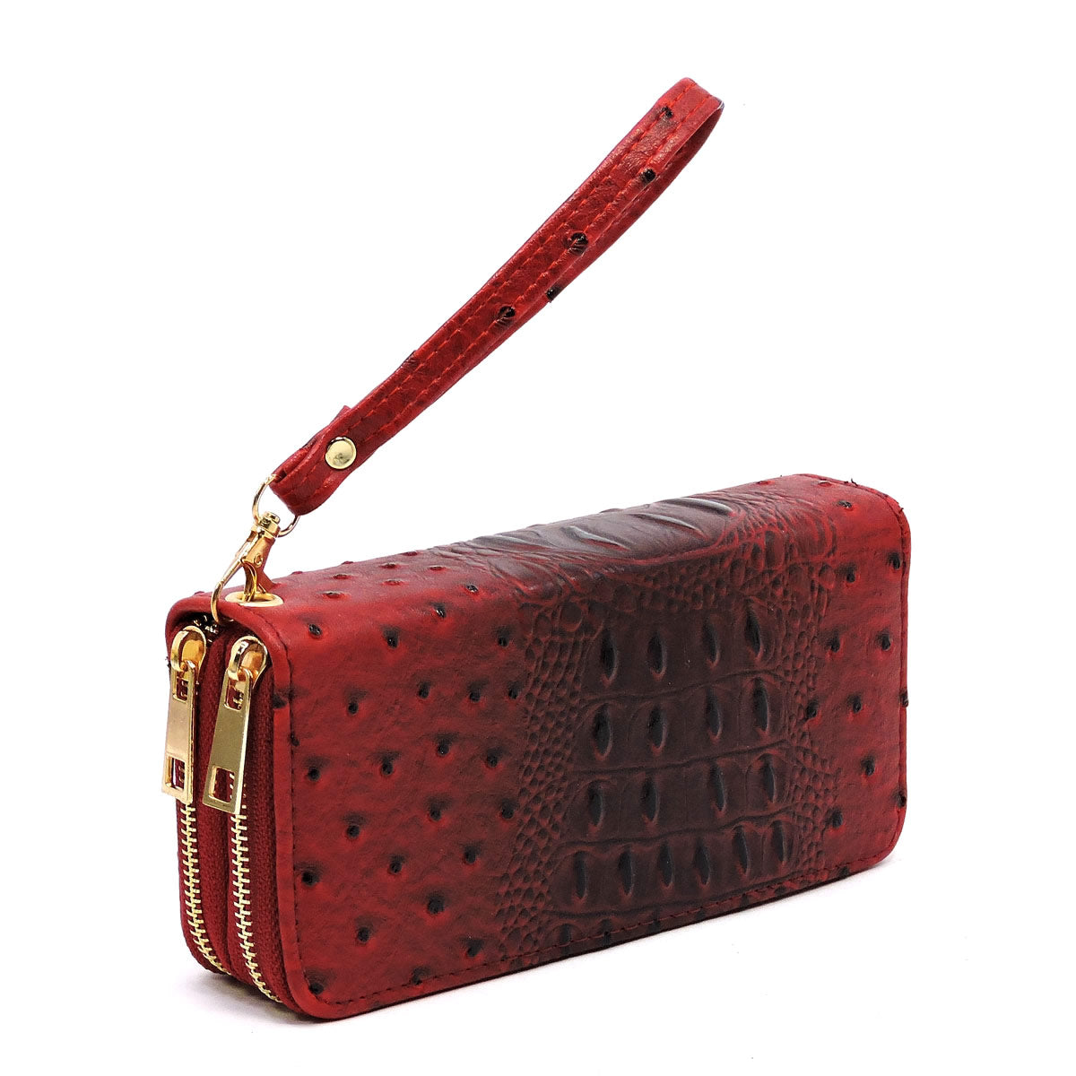 Ostrich Double Zip Around Wristlet Wallet Red - Ace Handbag