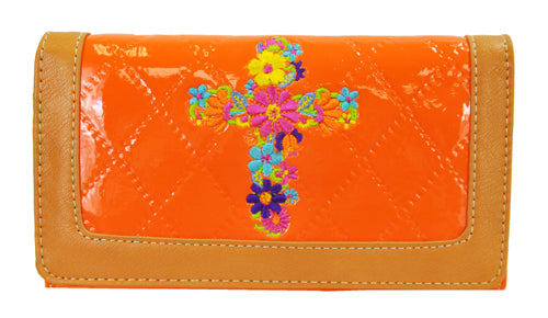 Quilted Couture Floral Embroidery Cross Trifold Checkbook Wallet Orange - Ace Handbag