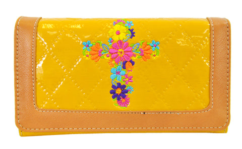 Quilted Couture Floral Embroidery Cross Trifold Checkbook Wallet Yellow