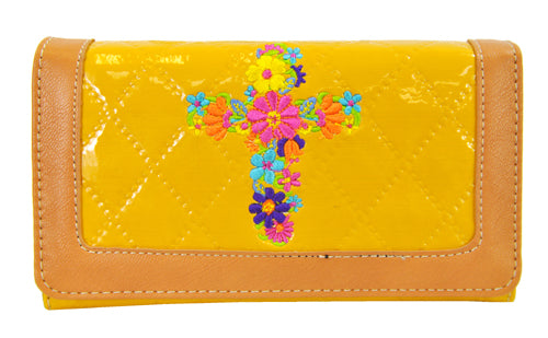 Quilted Couture Floral Embroidery Cross Trifold Checkbook Wallet Yellow - Ace Handbag