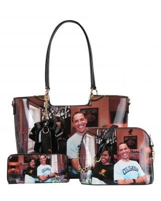 3in1 Obama Tote Set Black - Ace Handbag
