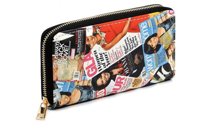 W02PQ MT Magazine Cover Collage Zip Around Clutch Wallet - Ace Handbag