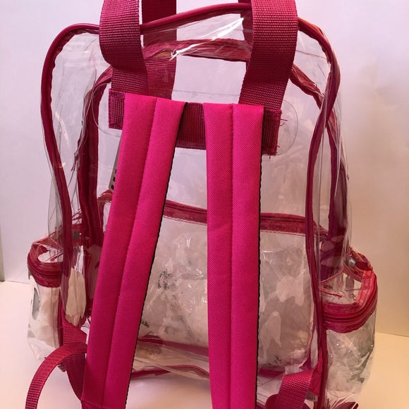 "Clear Transparent Large 16"" Backpack Pink - Ace Handbag"