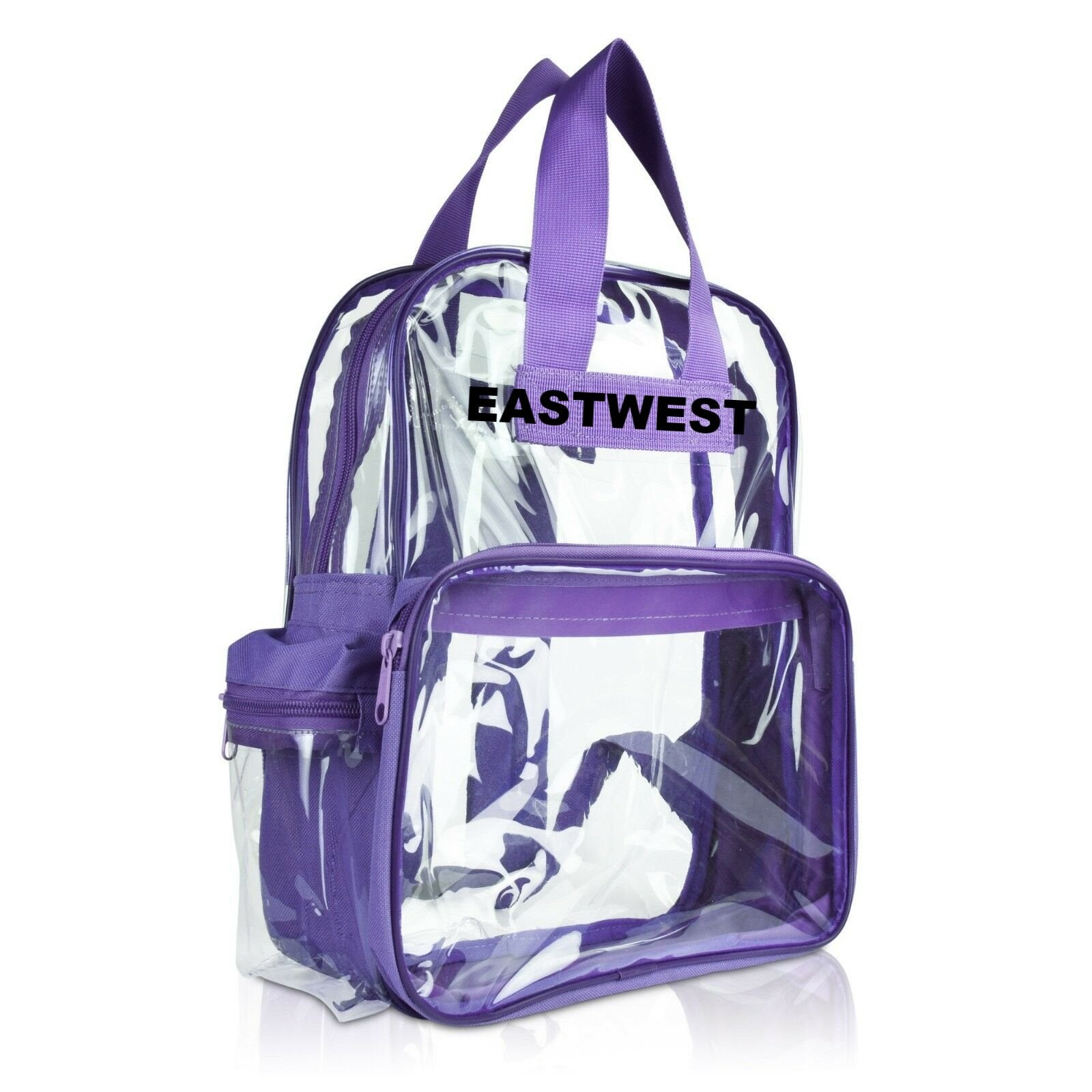 "Clear Transparent Large 16"" Backpack Purple - Ace Handbag"