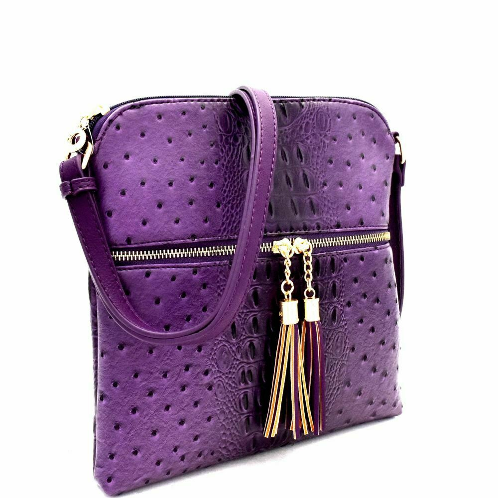 Ostrich Zip Tassel Messenger Purple - Ace Handbag
