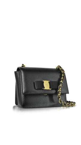 Salvatore Ferragamo Mini Vara Flap Bag (Black) #21E479600206