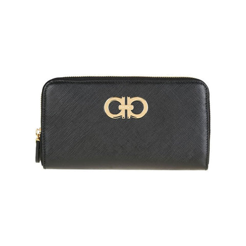 Salvatore Ferragamo Salvatore Ferragamo Double Gancio Zip Around Wallet (Nero) #23B300614221NERO Small Leather Goods - DNovo