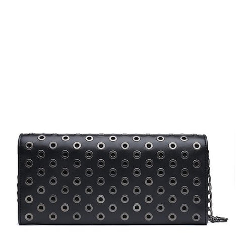 Prada Prada Grommet Long Flap Wallet With Chain (Nero) Small Leather Goods - DNovo