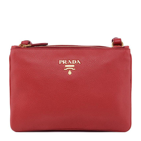 Prada Prada Zipped Shoulder Bag (Rosso) Bags - DNovo