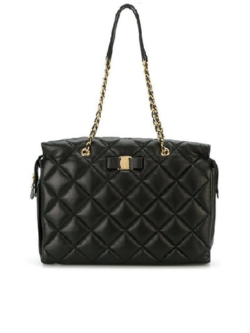 Salvatore Ferragamo Large Quilted Vara Tote Bag (Nero) # 21E7660586118