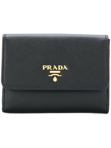 Prada Prada French Flap Wallet (Nero) Small Leather Goods - DNovo