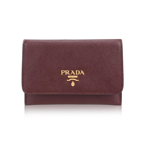 Prada Prada Saffiano Metal Card Holder Wallet (Granato) Small Leather Goods - DNovo