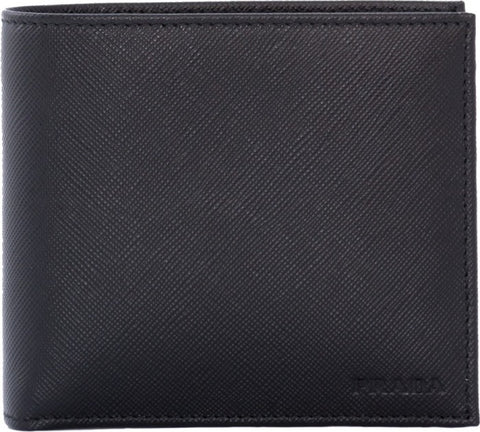 Prada Prada Saffiano Bifold Wallet with Coin Pouch (Nero) Small Leather Goods - DNovo