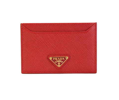 Prada Prada Saffiano Triangle Card Case Small Leather Goods - DNovo