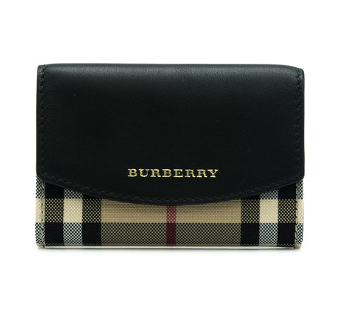 Burberry Burberry Horseferry Check And Leather Card Case Small Leather Goods - DNovo