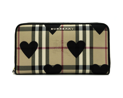 Burberry Burberry Horseferry Check Hearts Elmore Zip Around Wallet Small Leather Goods - DNovo