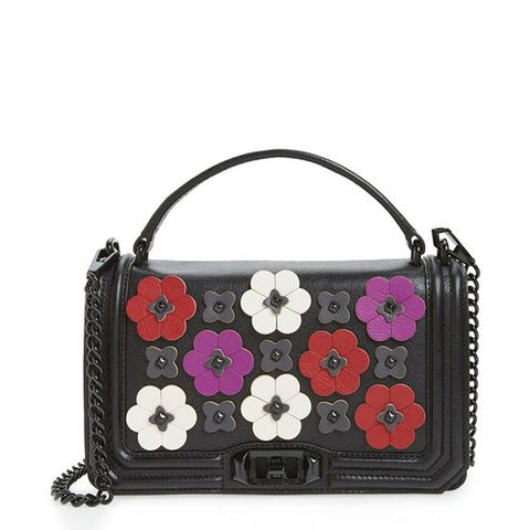 Rebecca Minkoff Love Floral Applique Crossbody Bag (Black Multi)