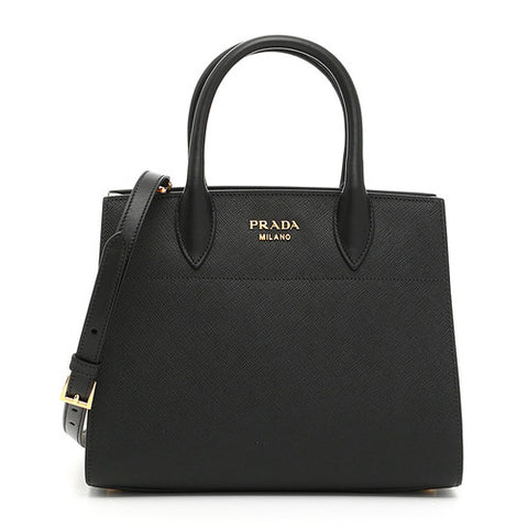 Prada Prada Bibliothèque Bi-Colour Tote Bag (Nero/White) Bags - DNovo