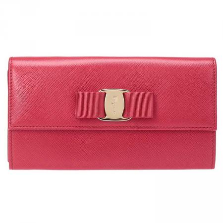 Salvatore Ferragamo Vara Long Wallet With Strap (Rosso) # 22C423629687