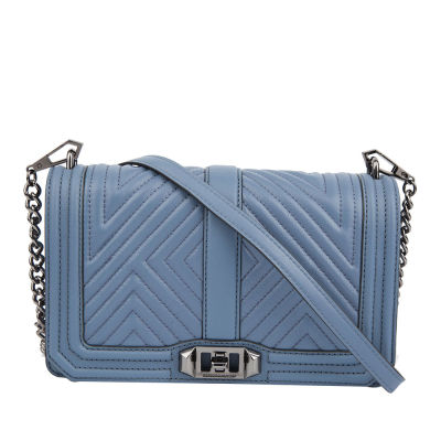 Rebecca Minkoff Geo Quilted Love Crossbody Bag (Dusty Blue)