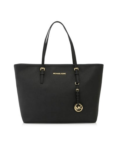 Michael Kors Michael Kors Jet Set Travel Top Zip Gold Tone Tote Bag (Black) Bags - DNovo