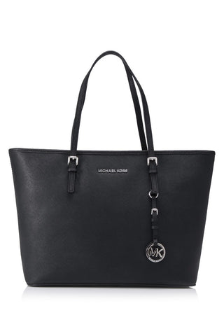 Michael Kors Michael Kors Jet Set Travel Top Zip Silver Tone Tote Bag (Black) Bags - DNovo