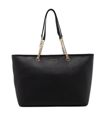 Michael Kors Michael Kors Jet Set Travel Chain Medium Top Zip Multi Functional Tote Bag (Black) Bags - DNovo