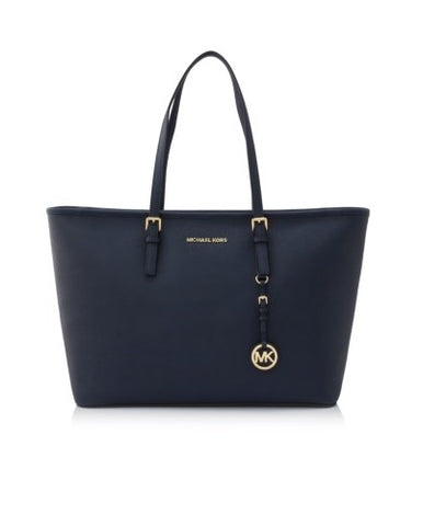 Michael Kors Michael Kors Jet Set Travel Gold Tone Medium Top Multifunctional Tote Bag (Navy) Bags - DNovo