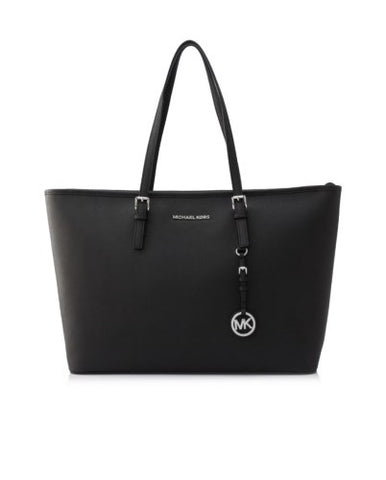 Michael Kors Michael Kors Jet Set Travel Silver Tone Medium Top Zip Multi Functional Tote Bag (Black) Bags - DNovo