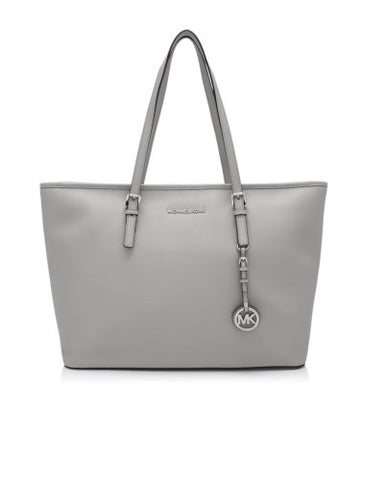 Michael Kors Michael Kors Jet Set Travel Silver Tone Medium Top Zip Multi Functional Tote Bag (Cement) Bags - DNovo